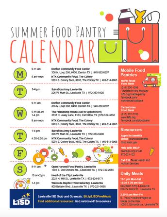 Summer Food Pantry Calendar