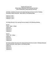 Reading Showcase Class Work Schedule - Grades 3rd - 5th