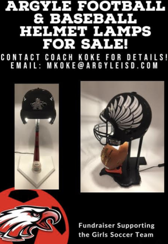 FOOTBALL AND BASEBALL HELMET LAMPS FOR SALE - FUNDRAISER FOR SOCCER