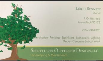 Southern Outdoor Design, Leigh Bennett, Owner, business card