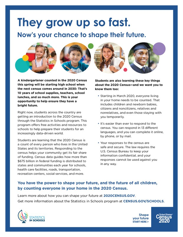 Census 2020 - Make sure you and your child are counted.