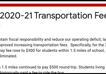 Avoca 2020-21 Transportation Fee Survey