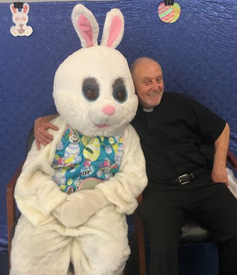 It looks like Fr. Mooney had some fun with the Easter Bunny!