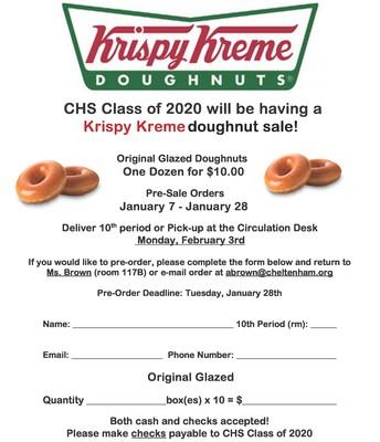 Class of 2020 Krispy Kreme Fundraiser