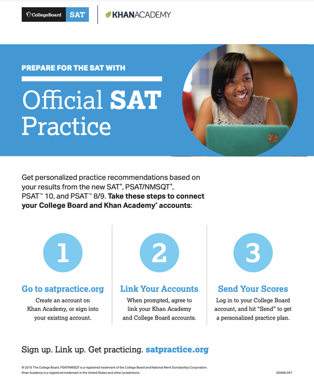 The official flyer linking PSAT scores and Khan Academy available at https://collegereadiness.collegeboard.org/pdf/steps-linking-college-board-khan-academy-accounts.pdf