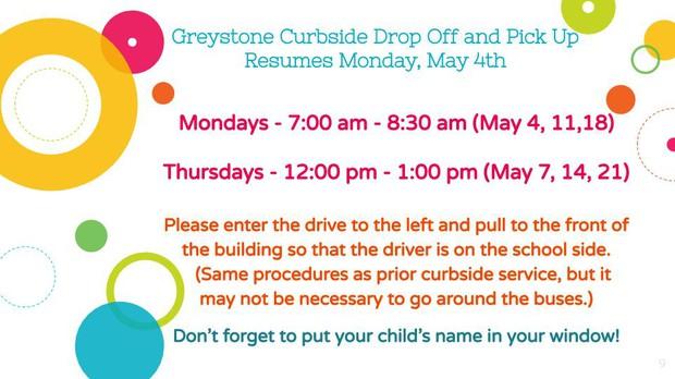 Greystone Pick Up resumes Mondays and Thursdays.