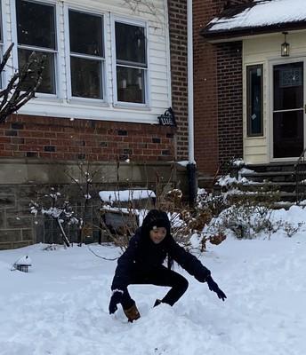 Ryann Allison scooping the snow...🌫️