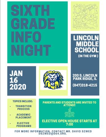 Incoming Sixth Grade Parent Night at Lincoln