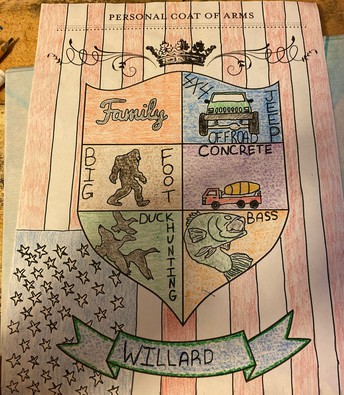 Drawing of personal coat of arms with big foot, truck, bass fish, concrete truck, ducks on background of stars & stripes flag
