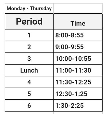 Mon-Thurs schedule for August