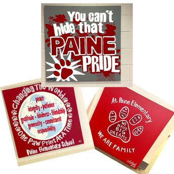 T-shirt designs for Paine Elementary turned into canvas art