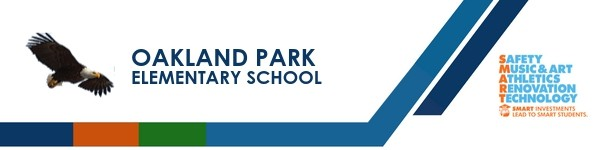A graphic banner that shows Oakland Park Elementary School's name and SMART logo