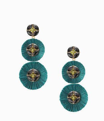Gemma Fan chandelier earrings, forest green