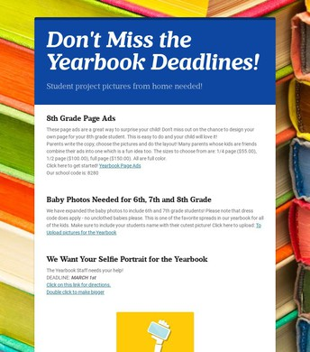 Yearbook Deadlines