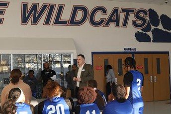 Encouraging boys and girls ahead of basketball playoffs