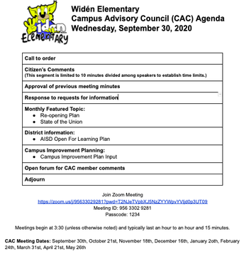 Campus Advisory Council Meeting