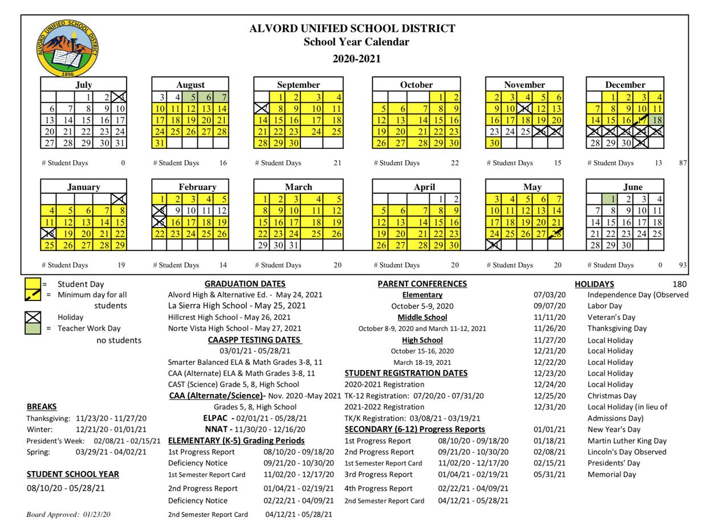 2020-21 School Year Calendar