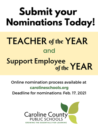 Nominations Open for Caroline Teacher & Support Employee of the Year- Repost