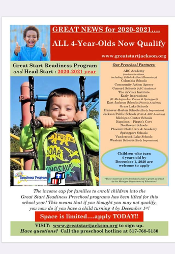Great Start Readiness Program - All 4 Yr olds qualify!
