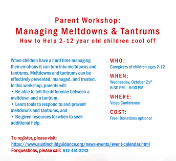 Parent Workshop: Managing Meltdowns & Tantrums