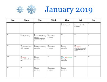Calendar of Events for January