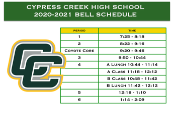 BELL SCHEDULE HAS CHANGED!!!!