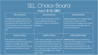 SEL Review Choice Board