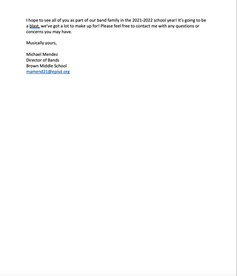 Letter from our Band Director