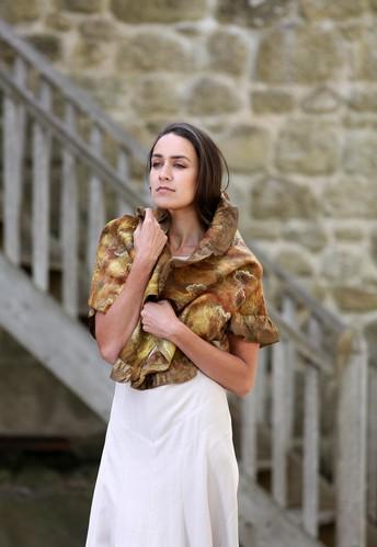 Eco printed nuno felt wrap by Nicola Brown