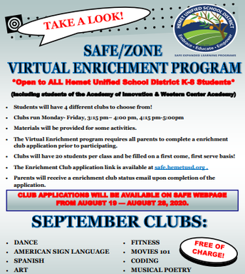 S.A.F.E. Virtual Enrichment Program