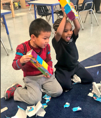 PreK students loved their surprise gifts from our friends at B.U.S.