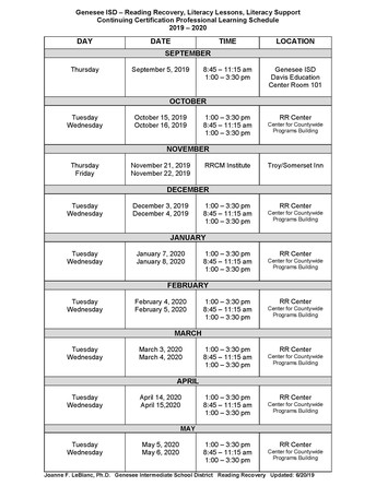 2019-2020 CONTINUING CERTIFICATION SCHEDULE