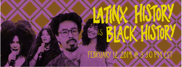 image of four Afro-latinx people, image reads: Latinx History is Black History