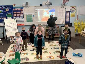 Kindergarten class donning their senior attire.