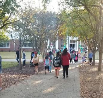 students walking to school