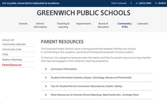 Parent Resources webpage on the Greenwich Public Schools' District website