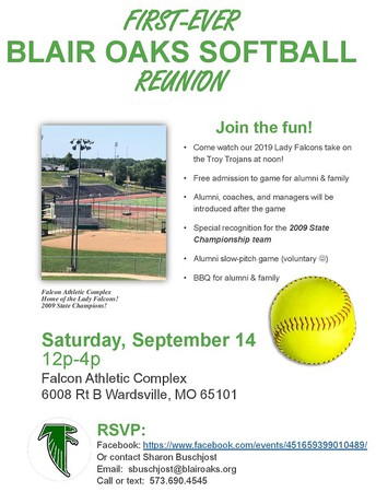 Blair Oaks Softball Reunion - Sept. 14th