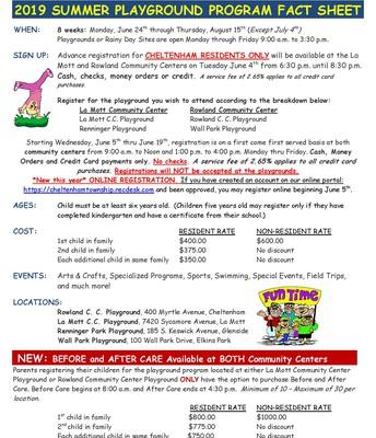 Summer Playground Fact Sheet