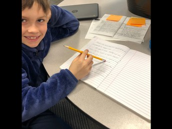 Henry's working through the writing process!