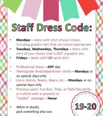 19-20 Staff Dress Code