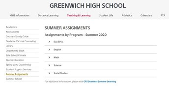Summer Reading Assignments @GHS