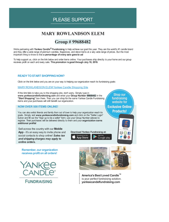 Annual Yankee Candle Fundraiser
