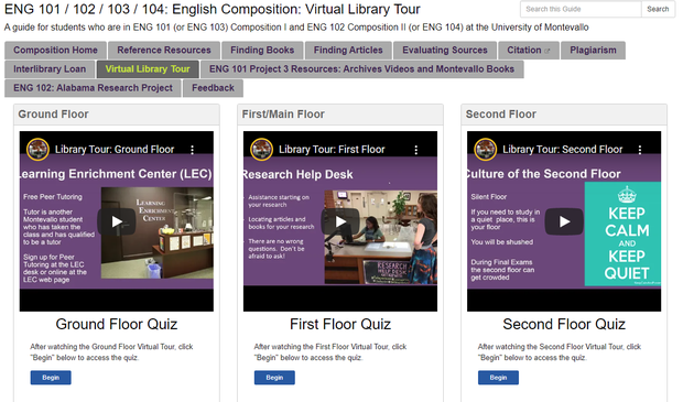 screenshot of the Eng 101 research guide featuring the virtual library tour