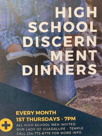 HIGH SCHOOL MEN'S DISCERNMENT DINNERS -  EVERY MONTH @ OLG