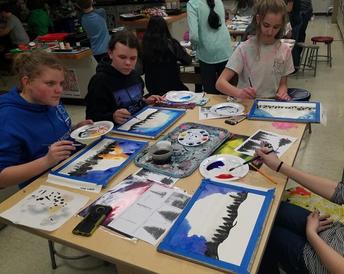 Club Create making watercolor aurora borealis paintings