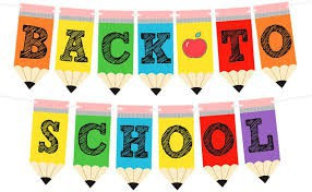 Back to school banner written on colored pencils