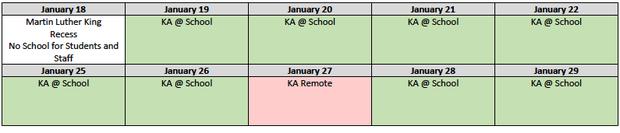 Kindergarten Academy Schedule