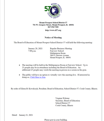 District 57 - Notice of Meeting