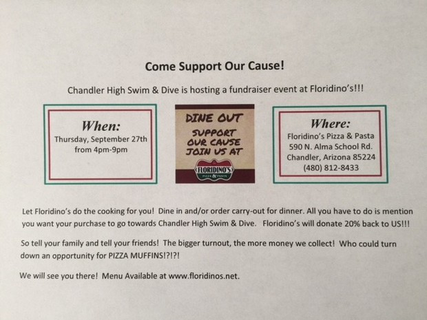 Swim and Dive Fundraiser Flyer