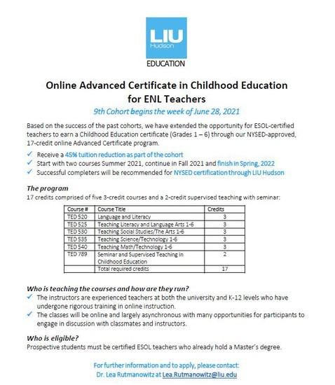 LIU Online Advanced Certificate Program